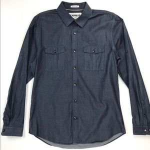 Express Extra Slim Fit Chambray Button-Down Shirt
